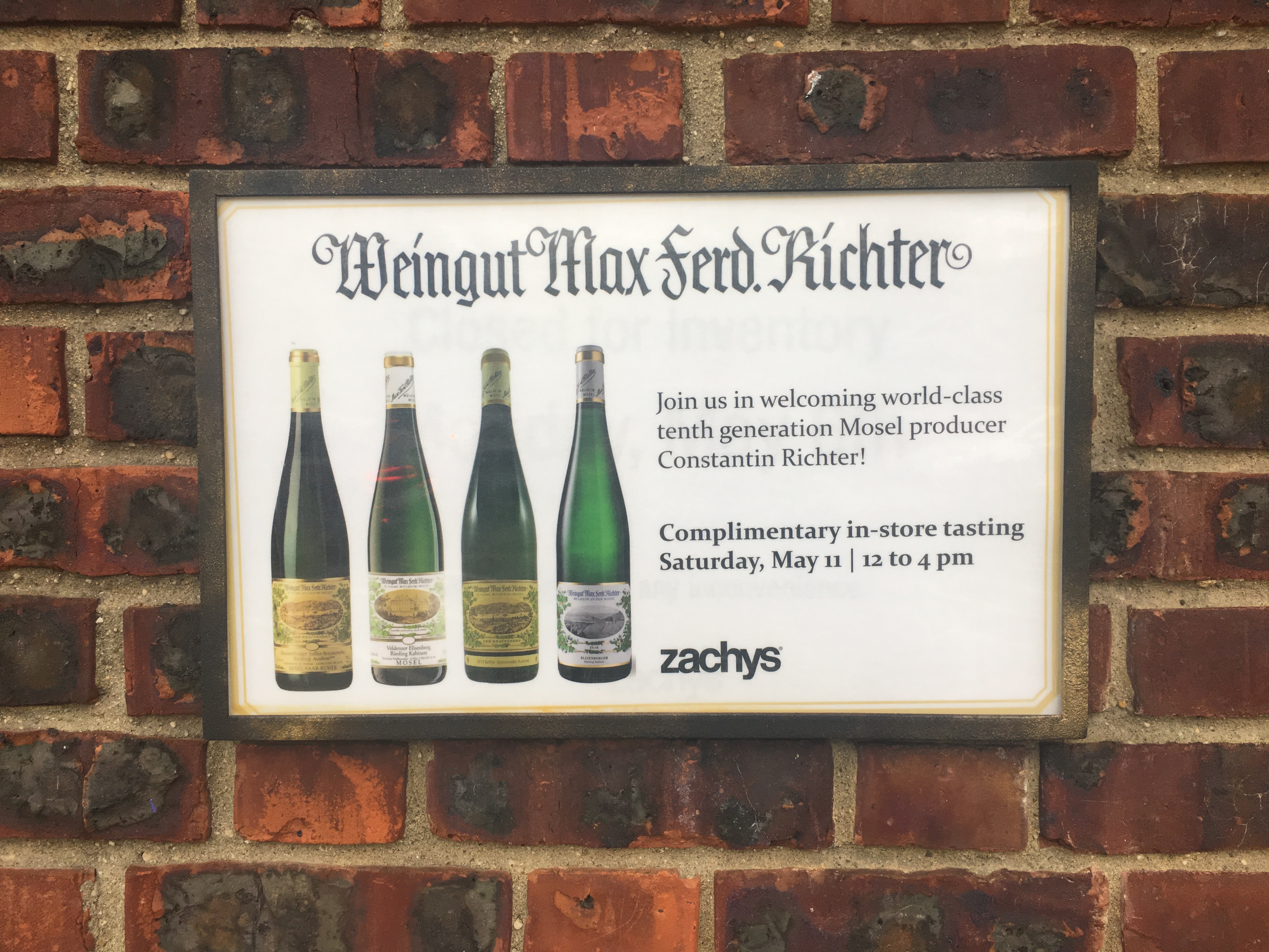 outside of store Richter Riesling's tasting event tabloid poster, yellow double border