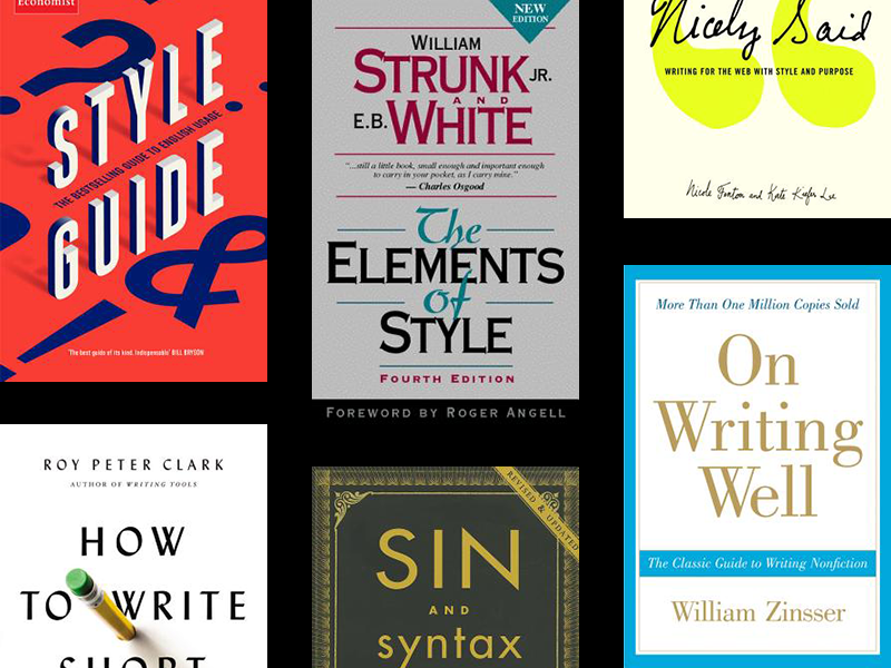 A collage of book covers related to writing.