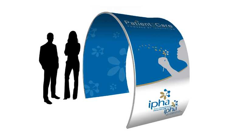 two people beside ipha promo arch