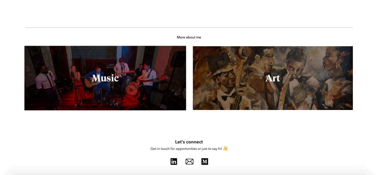 A screenshot taken from Gloria Lo's UX design portfolio demonstrating how she links out to her music and artwork