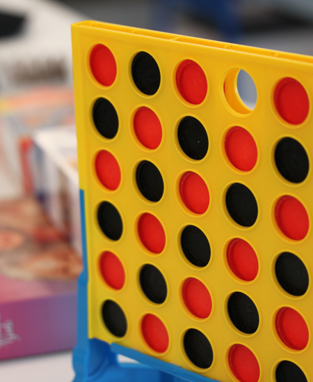 A close-up of a board game