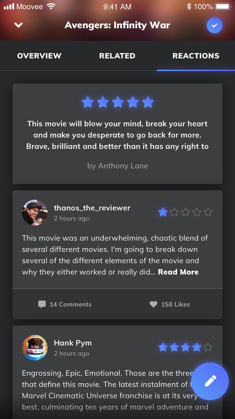 Moovee film reactions
