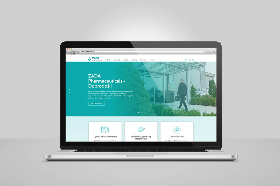 Project Zada Pharmaceuticals, Website Design