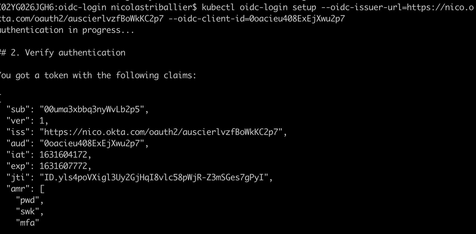 Terminal - Post Authentication Notes