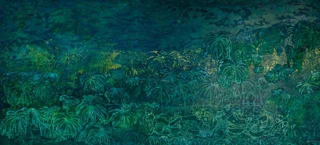 Ubud Green, woodblock acrylic on canvas