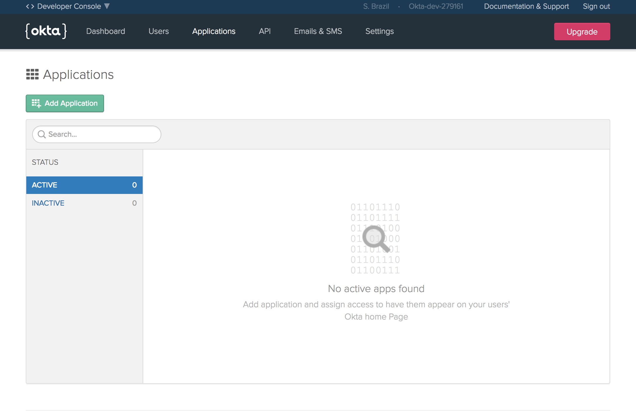 Screen Shot of Okta add application