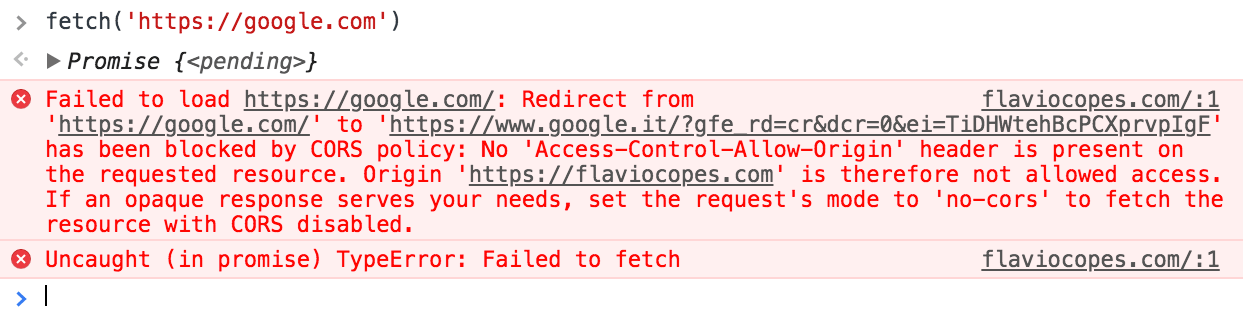 Fetch failed because of CORS policy
