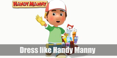 Handy Manny costume is a plain green shirt, denim pants, a red cap, yellow gloves, and brown boots.