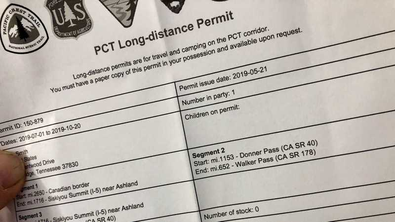 A printed copy of a PCT hiker permit