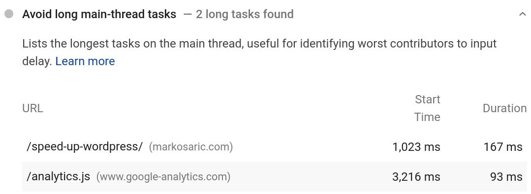 Google Analytics avoid long main-thread tasks
