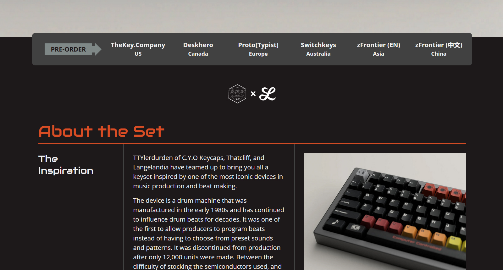 Screenshot of 808-Boom page.