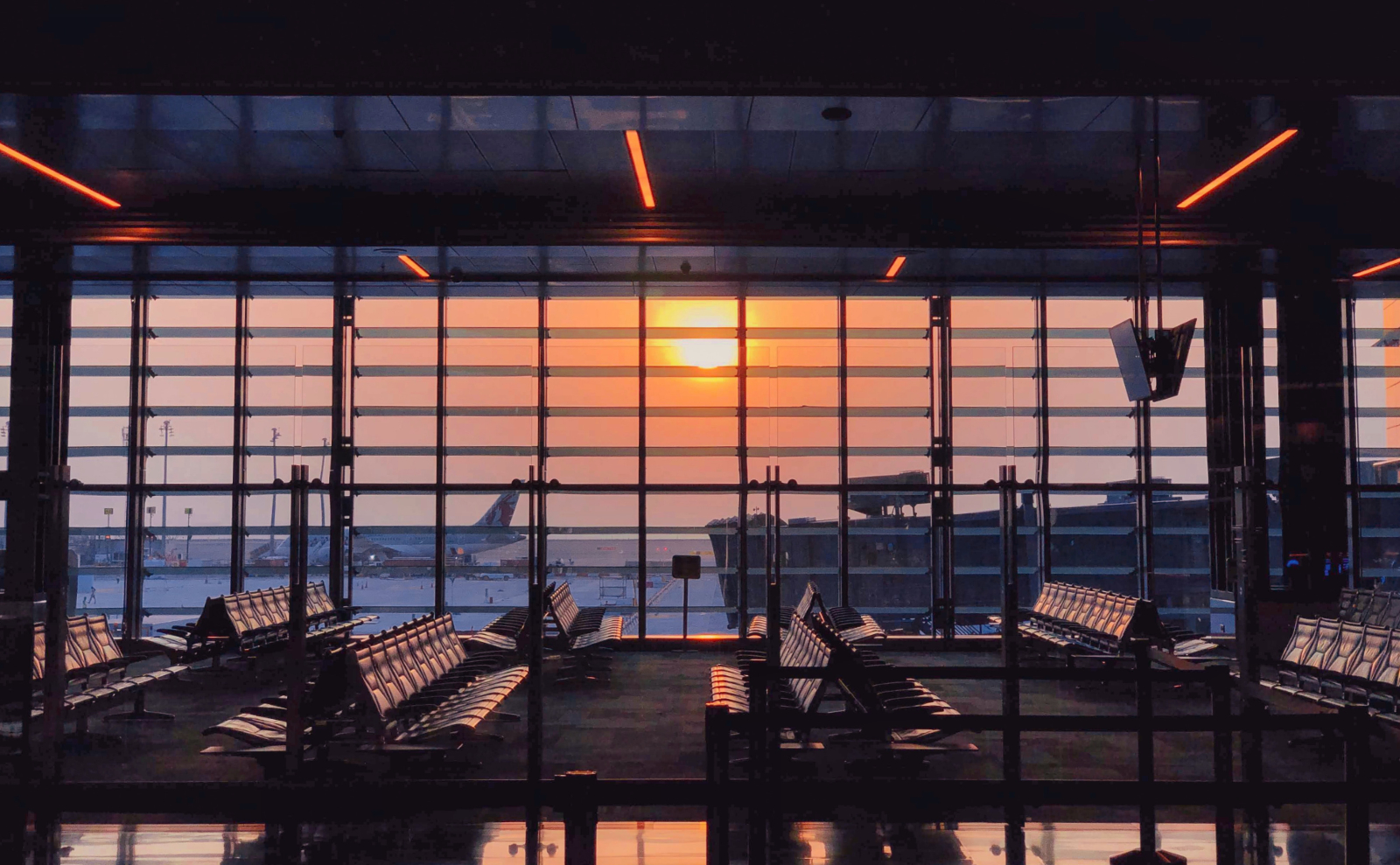 deserted airport at sunset