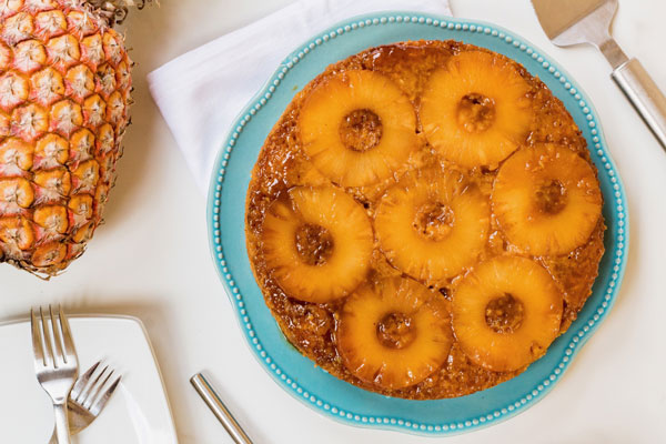 Bourbon Pineapple upside-down cake