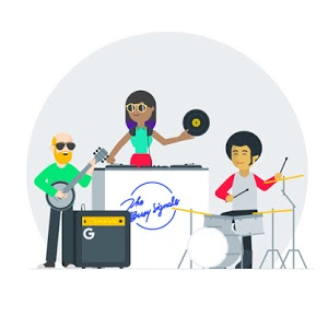 An album cover showing a male banjo player on the left, a female DJ in the middle, and a male drummer on the right.