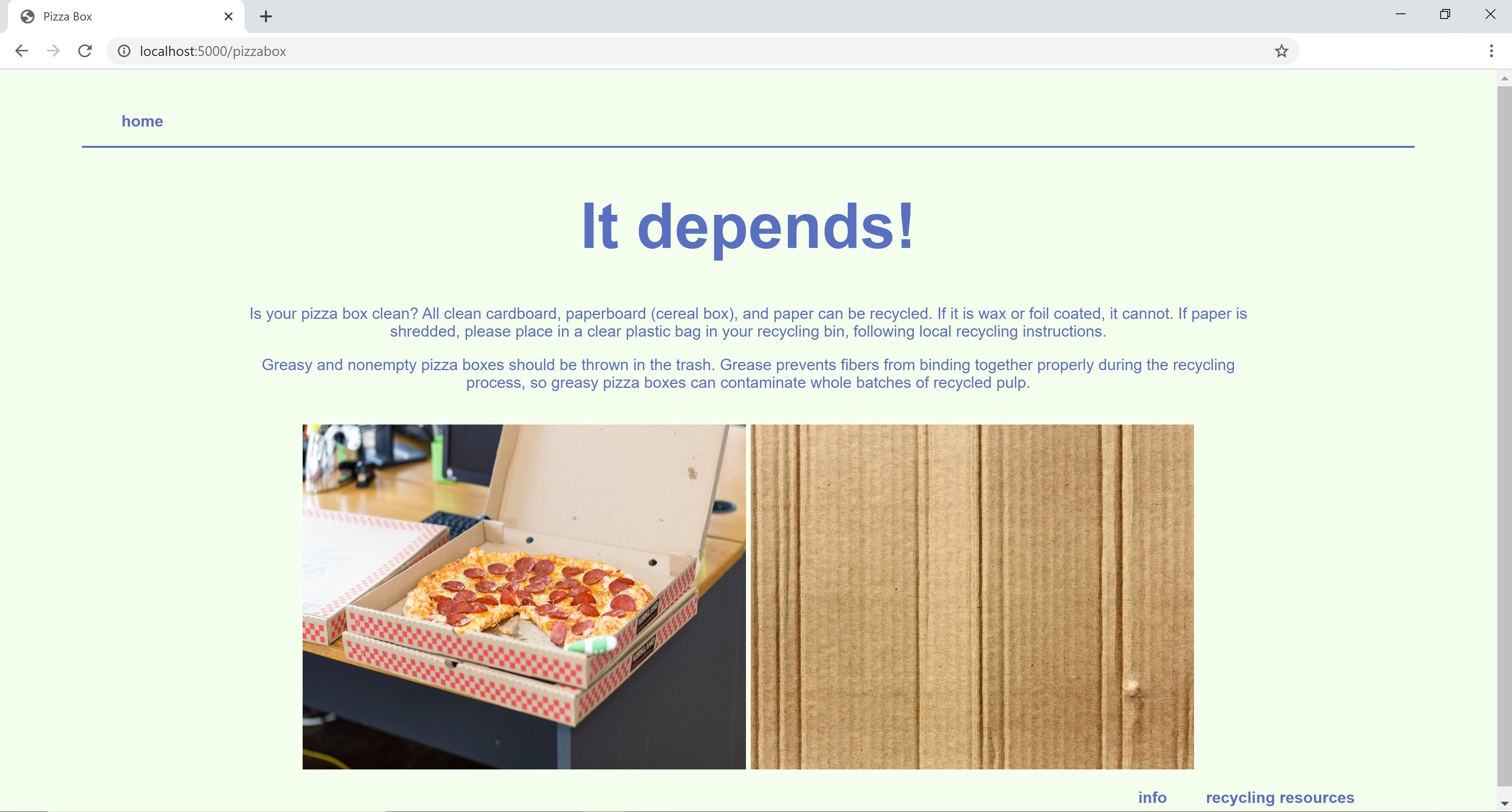 screenshot of Is This Recyclable? with info on recycling pizza boxes