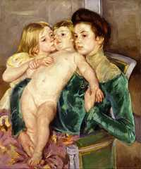 'The caress' painted by Mary Cassatt (1844-1926) in 1902