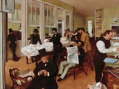 Degas travelled to stay with relatives in New Orleans in the early 1870s, painting The Cotton Exchange