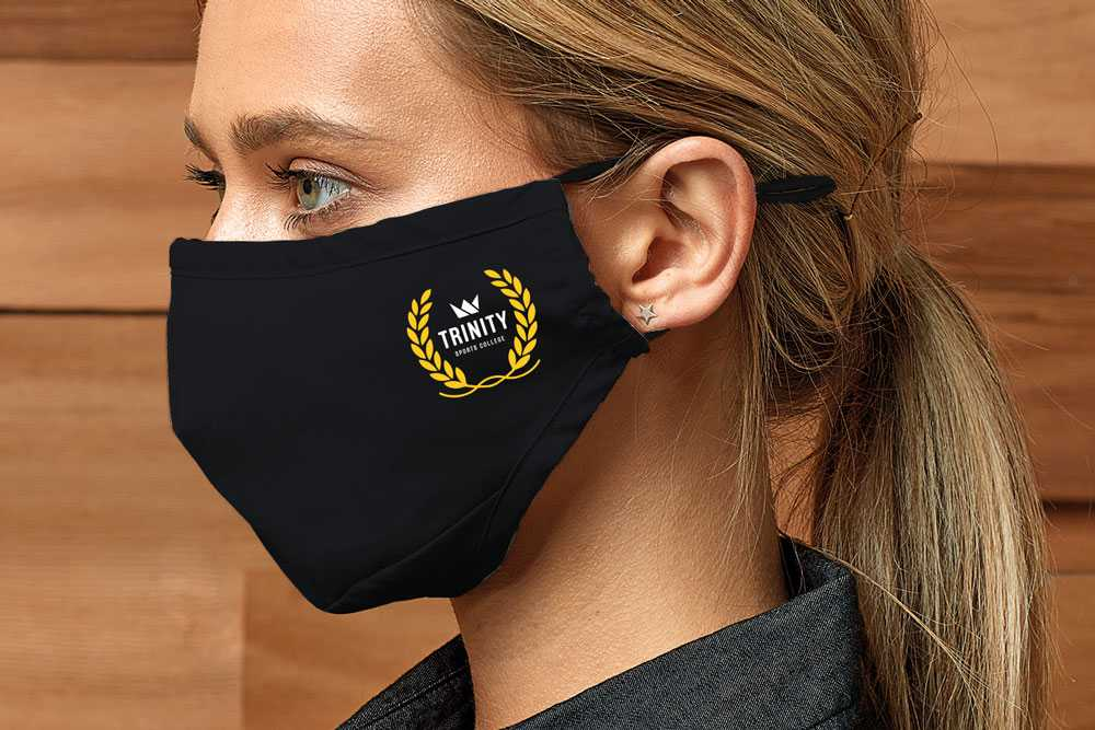 black cotton face mask with school logo print on the side