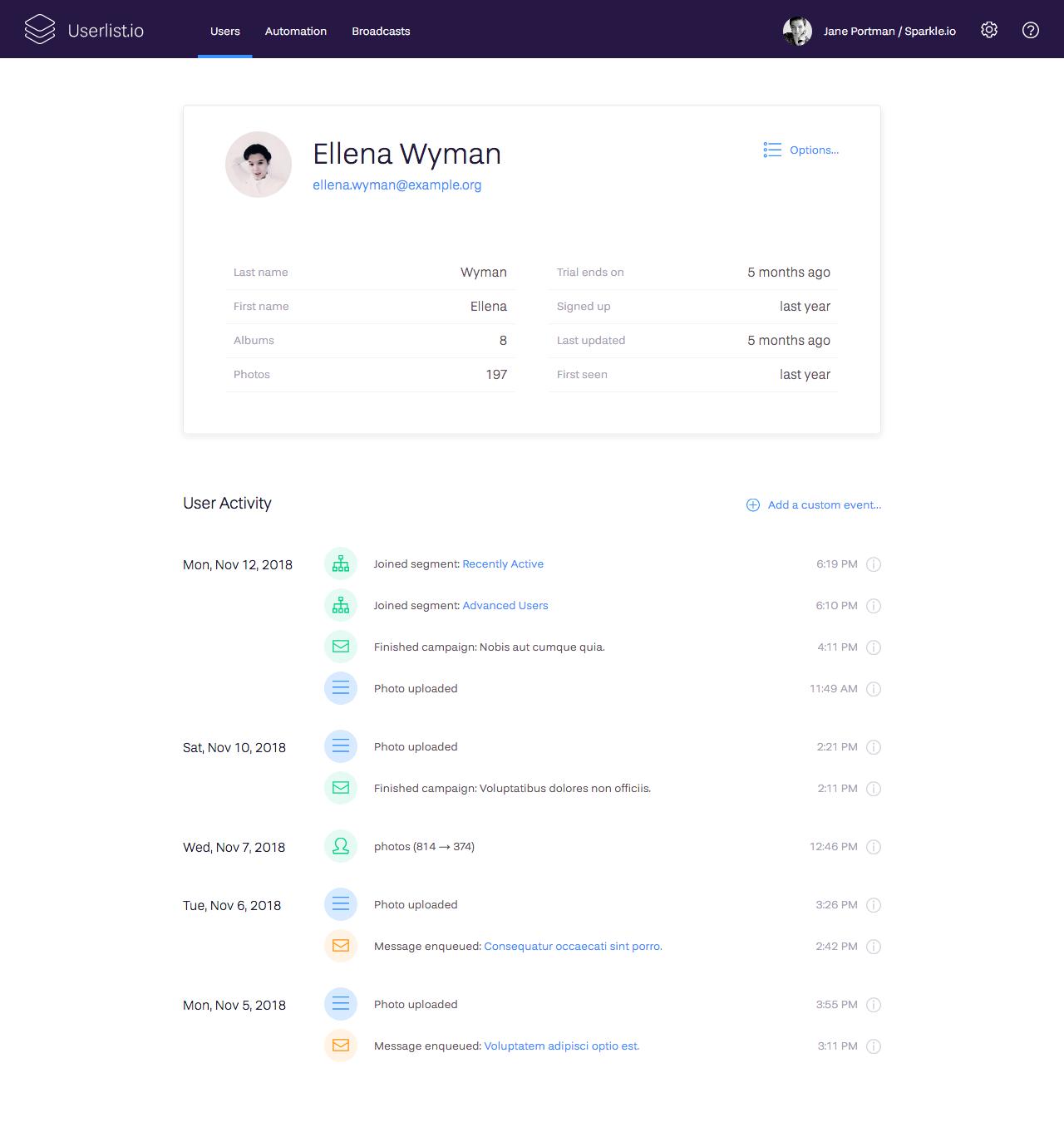 Explore individual user profiles