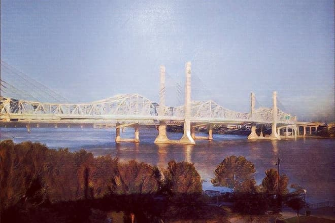 A photograph of a brutalist suspension bridge of white steel and concrete pylons crossing the Ohio River, processed to look like an oil painting.