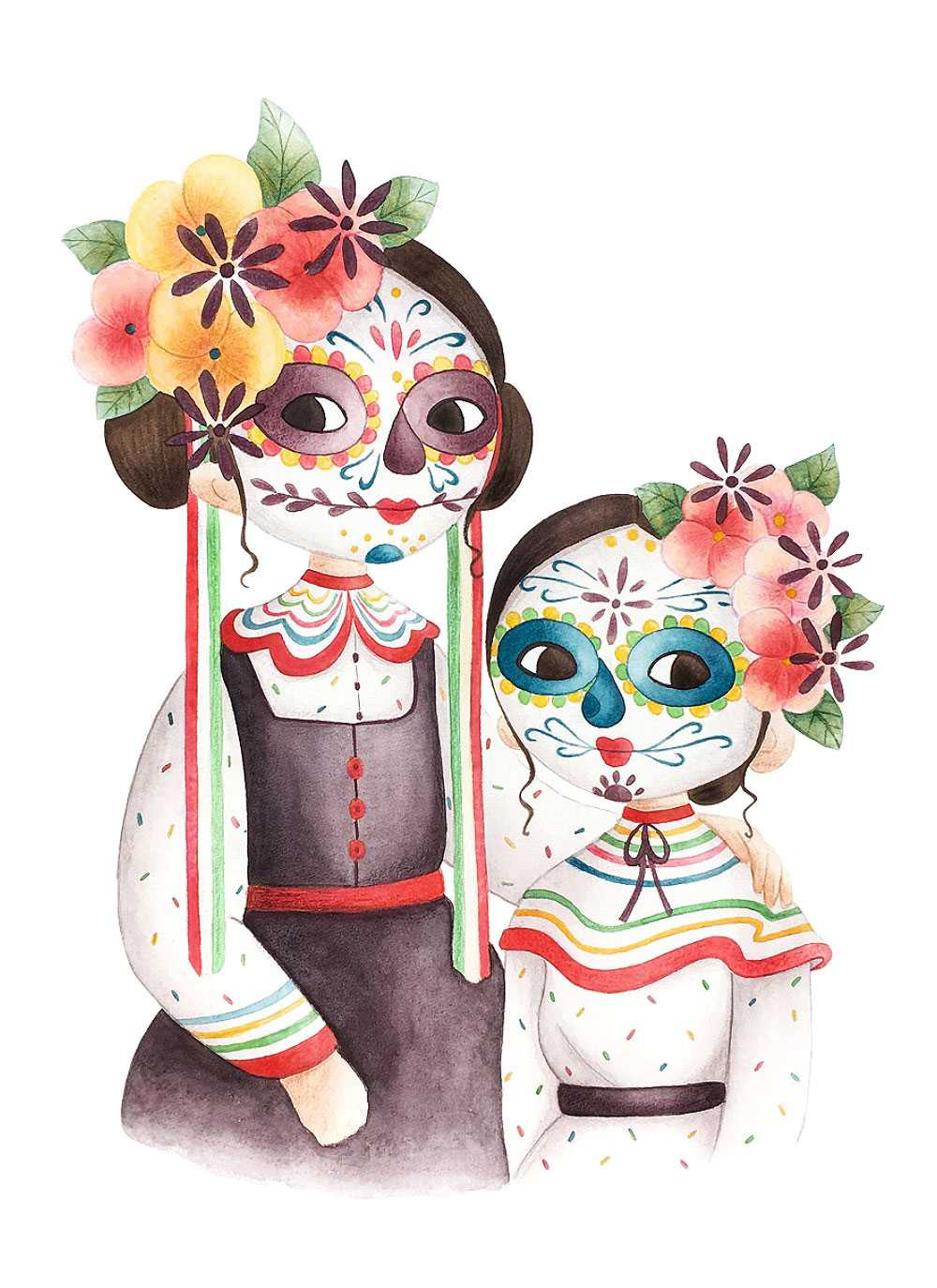 Two little girls with Dia de los muertos makeup and traditional costumes.