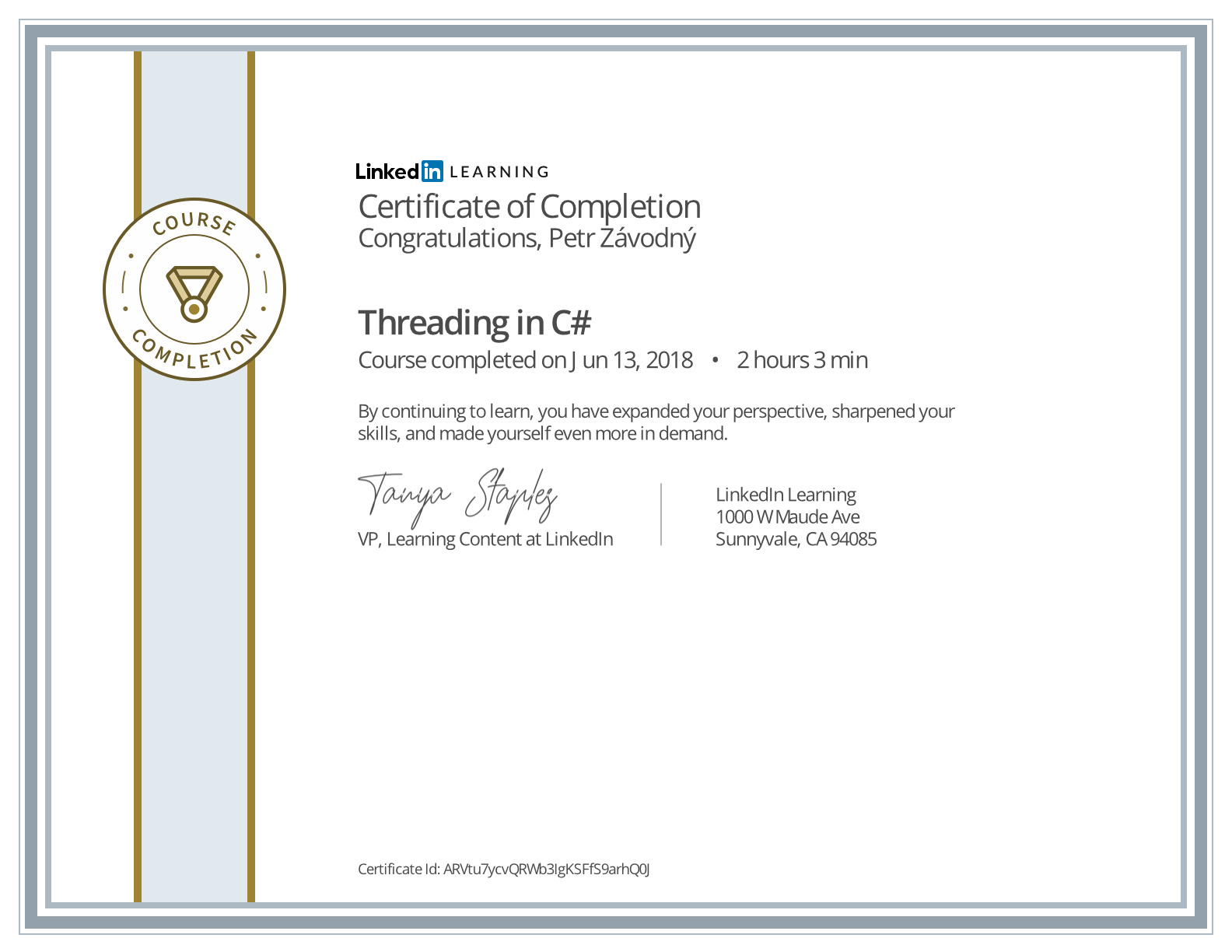 certificate C# Multithreaded Programming