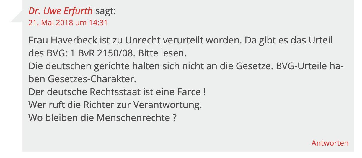 Uwe Erfurth kommentiert zu Ursula Haverbeck