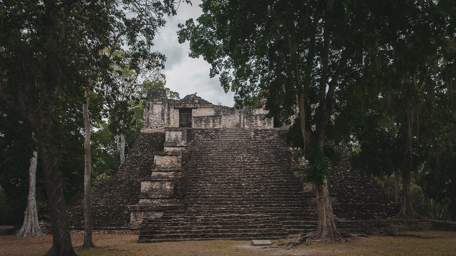 mayan ruins in the jungle of quintana roo, mexico
