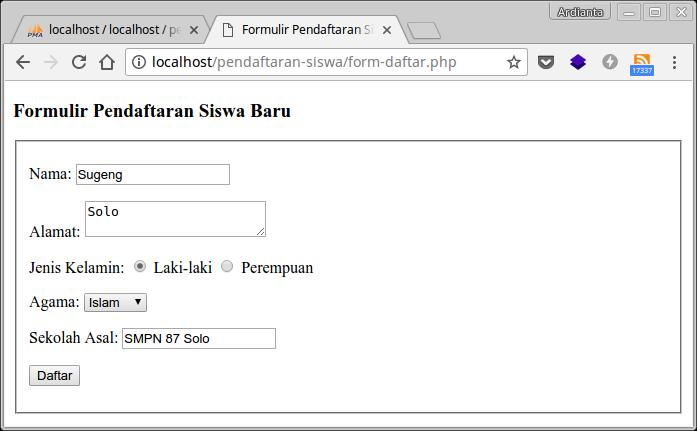 Input data di formulir pendaftaran