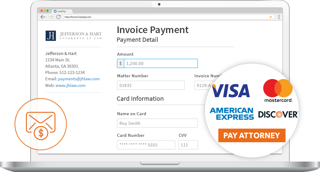 Personalized payment page accepts Visa, Mastercard, American Express, and Discover