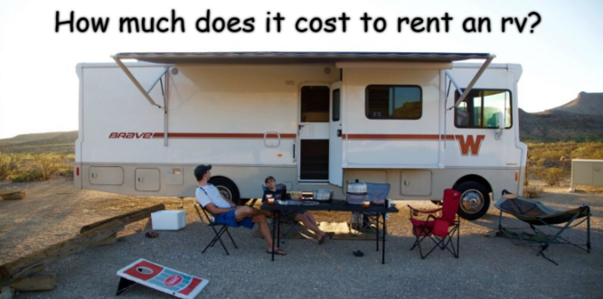 Rented Rv with owners and chairs on the outside