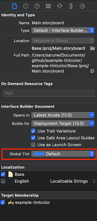 The Global Tint property in the storyboard's File inspector