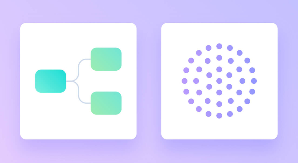 Picture with a purple background of two white icons representing organising design files