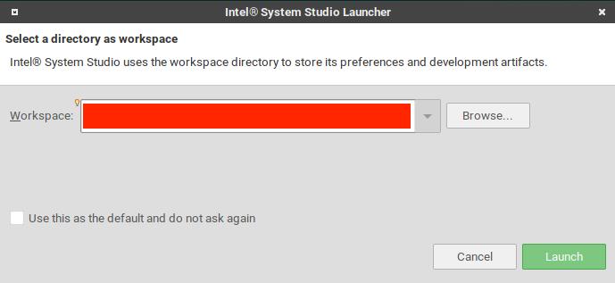 選擇 Intel System Studio 的 workplace