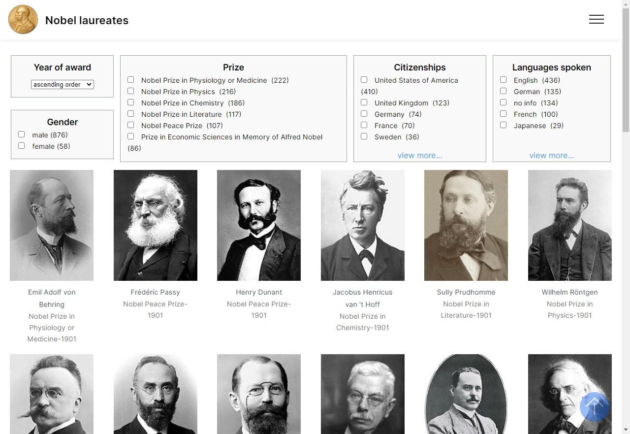 Screenshot of Nobel Prize Laureats