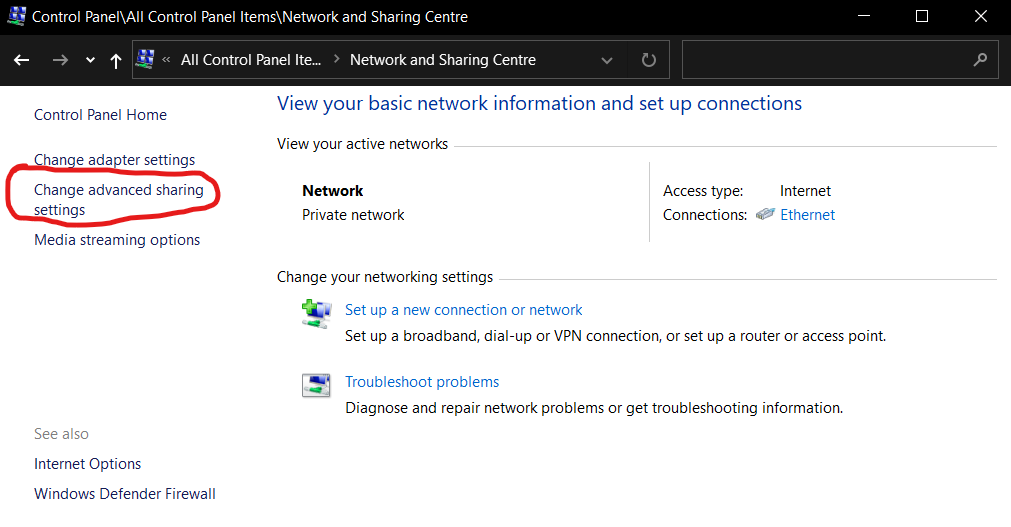 Network and Sharing Centre with advanced options circled in red
