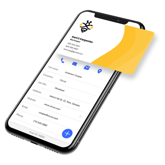 Mockup with a yellow (bee) card