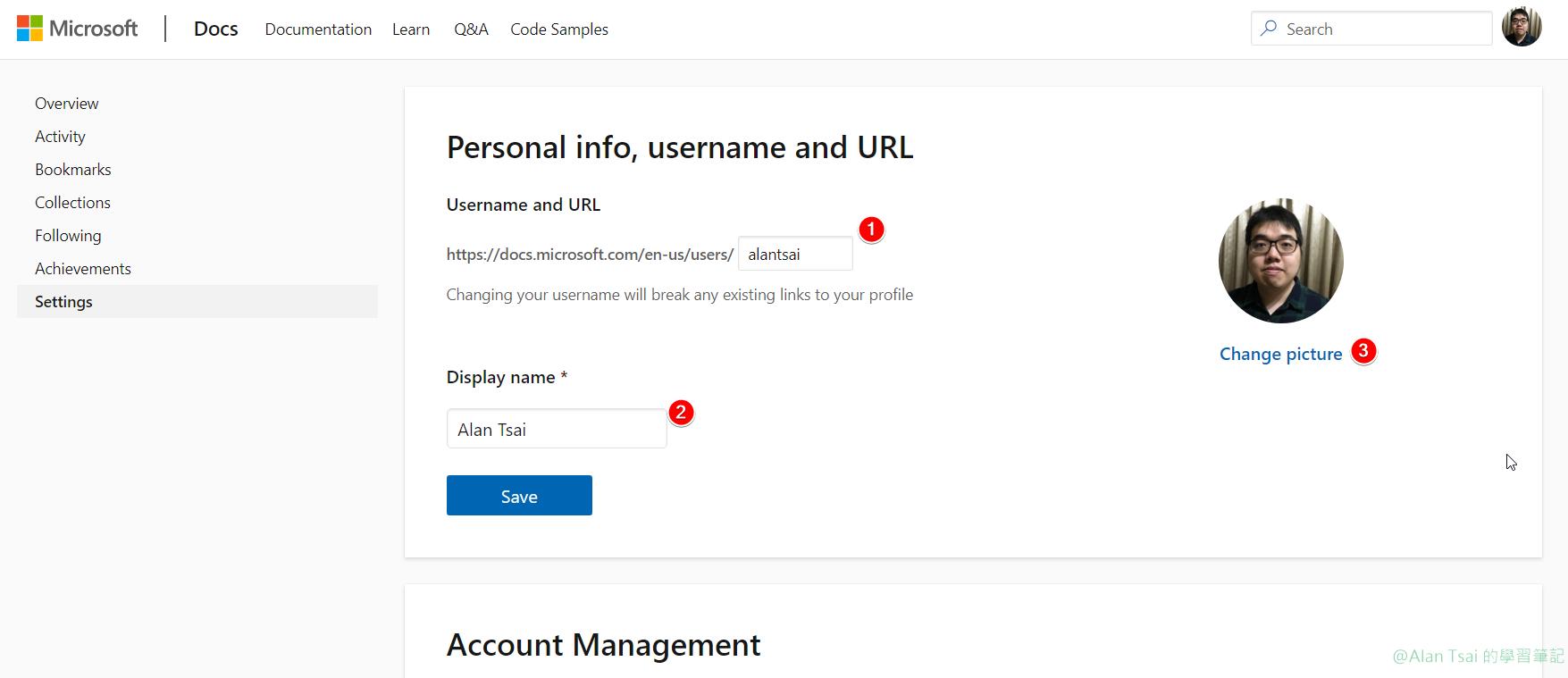設定 profile 網址、名稱以及頭像