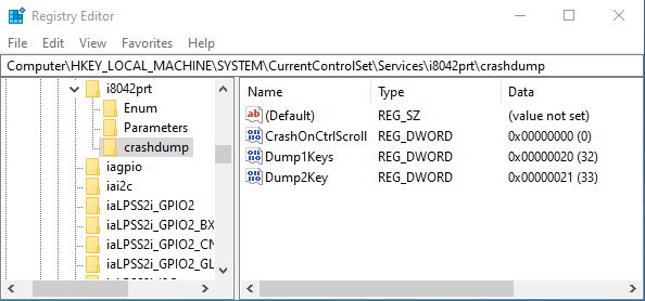 Crash dump Keyboard registry config