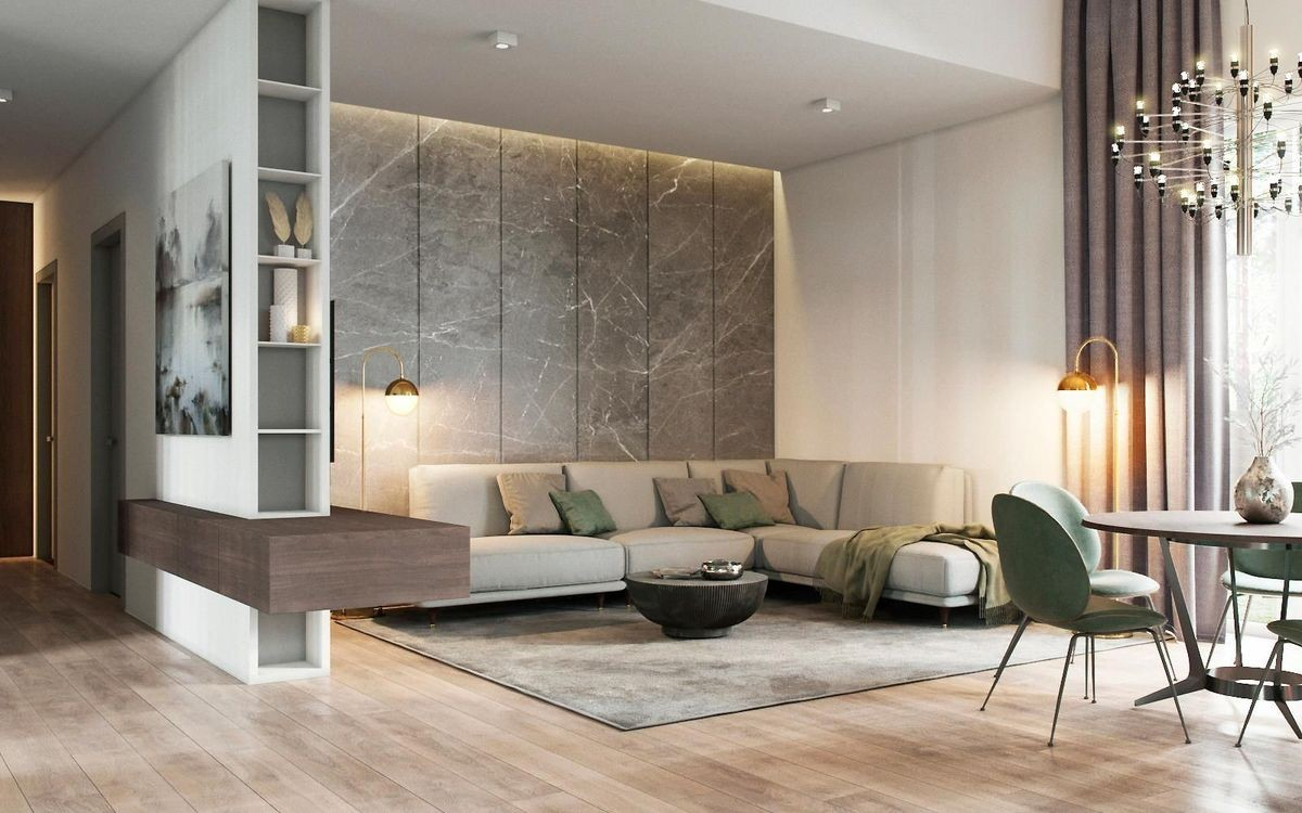 Luxury Home Interior Designers in Bangalore India - modern living room interior designs with concrete ceiling, l shaped fabric sofas, textured wall painting, wall mounted cabinets, wooden flooring with theme matched carpets, small tables and suspending decorative lights