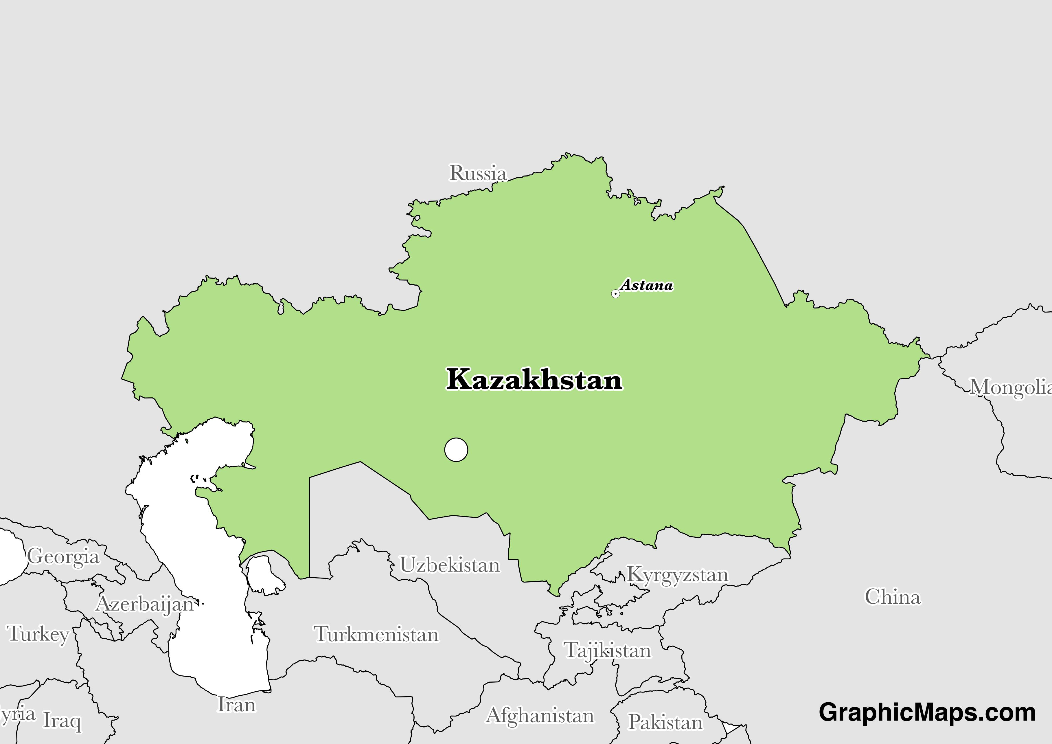 Map showing the location of Kazakhstan