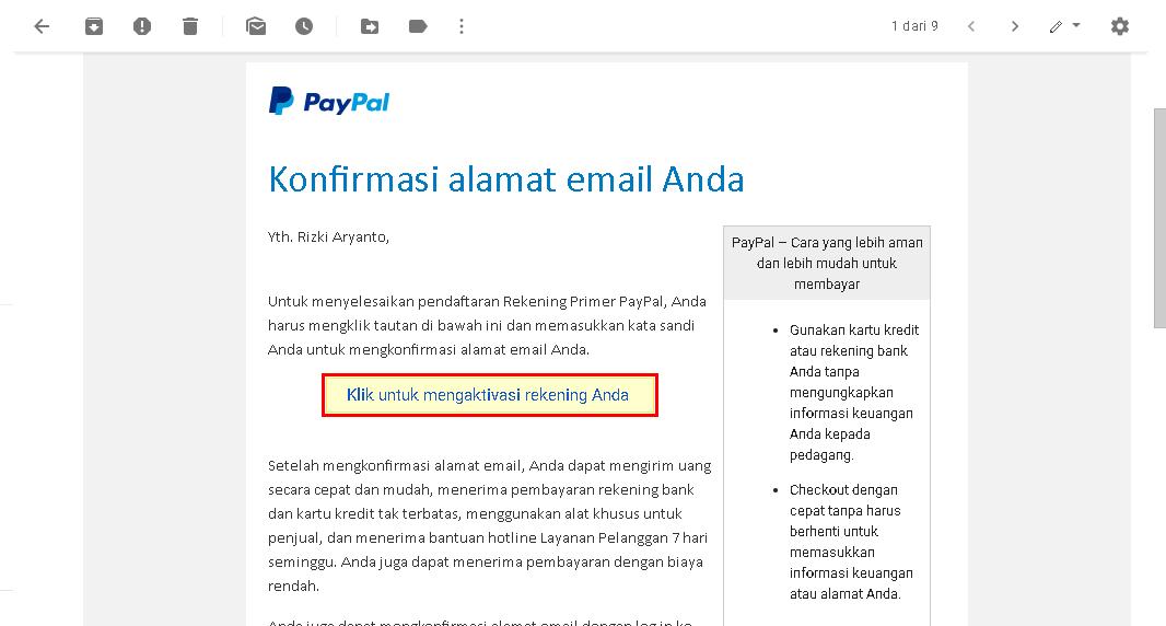 Pesan konfirmasi alamat email dari PayPal