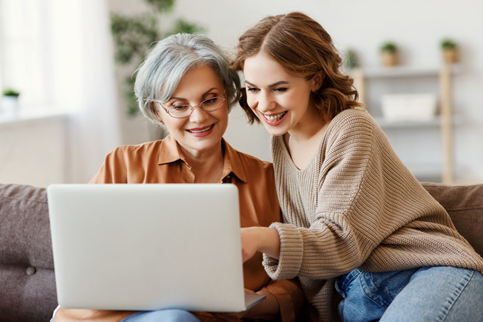 A lady showing her aging relative how she can qualify for as a dependent