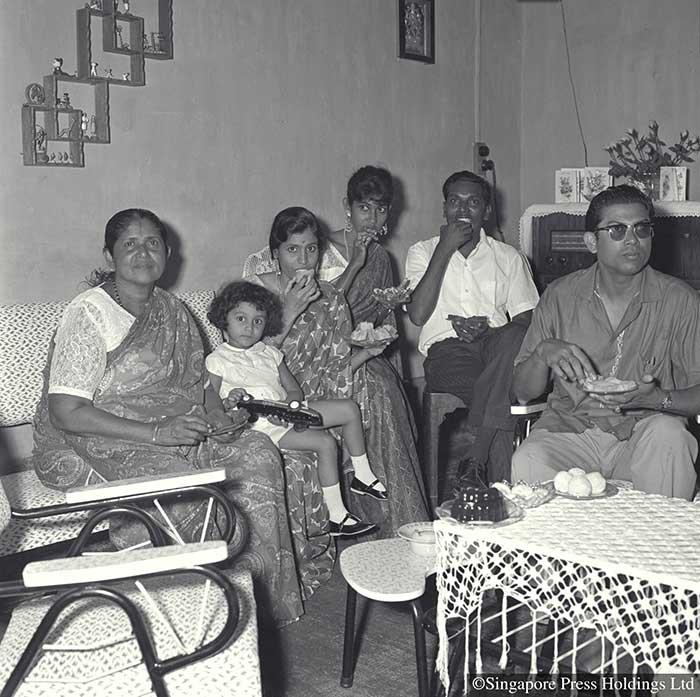 Hindu family celebrating Deepavali at home, 1963