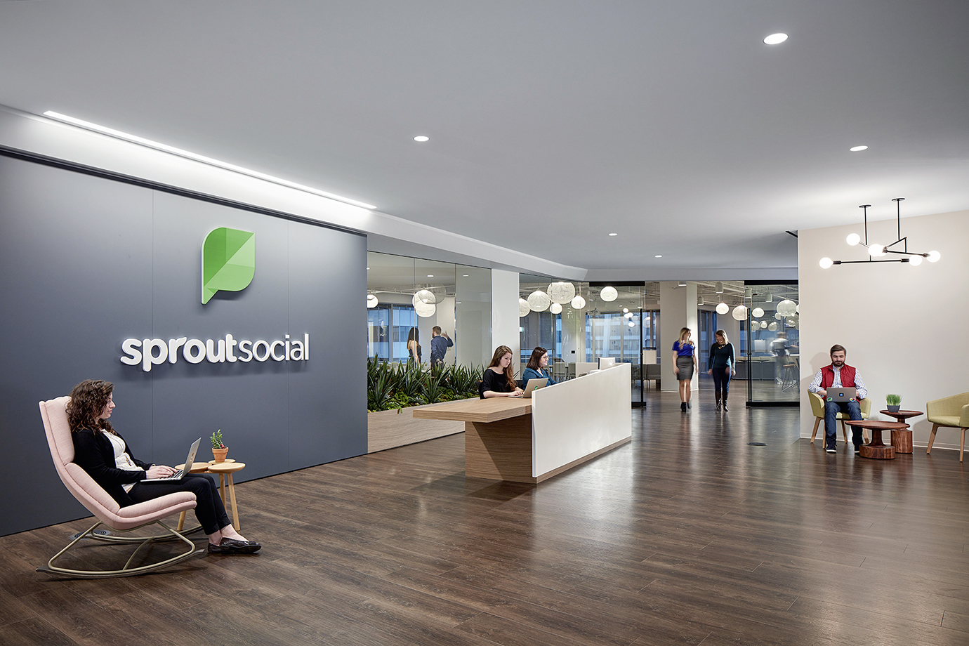 The reception area of the Sprout Social office.