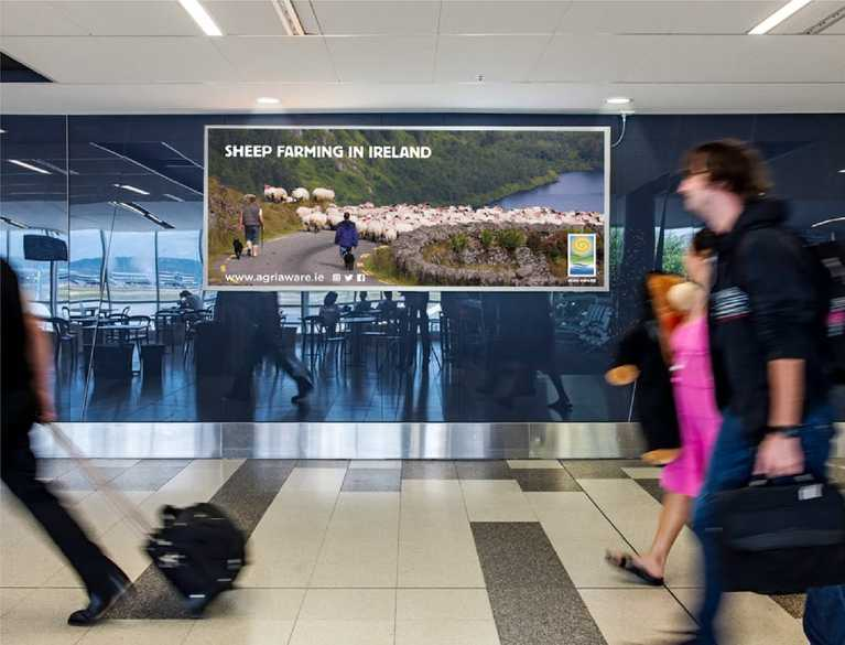 agri aware billboard advertisement in airport