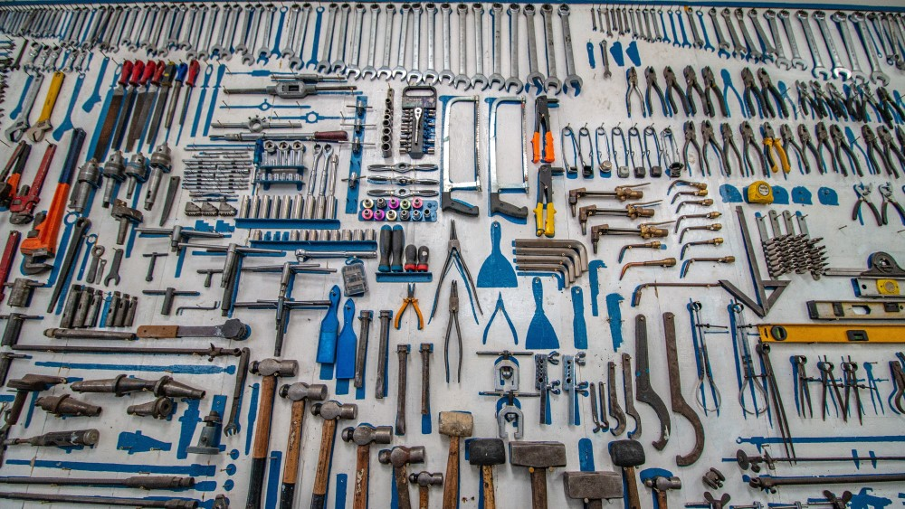wall of tools of different shapes and sizes