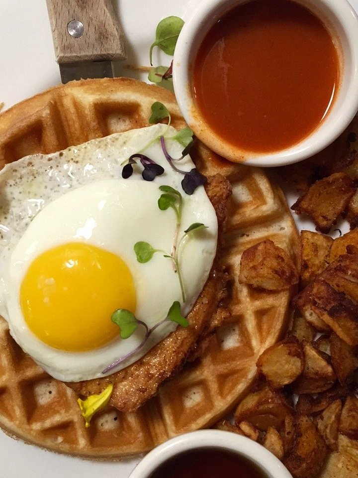 Chicken & Waffles with an egg on top