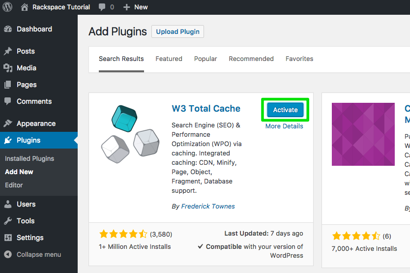 click install now in the w3 total cache search result box
