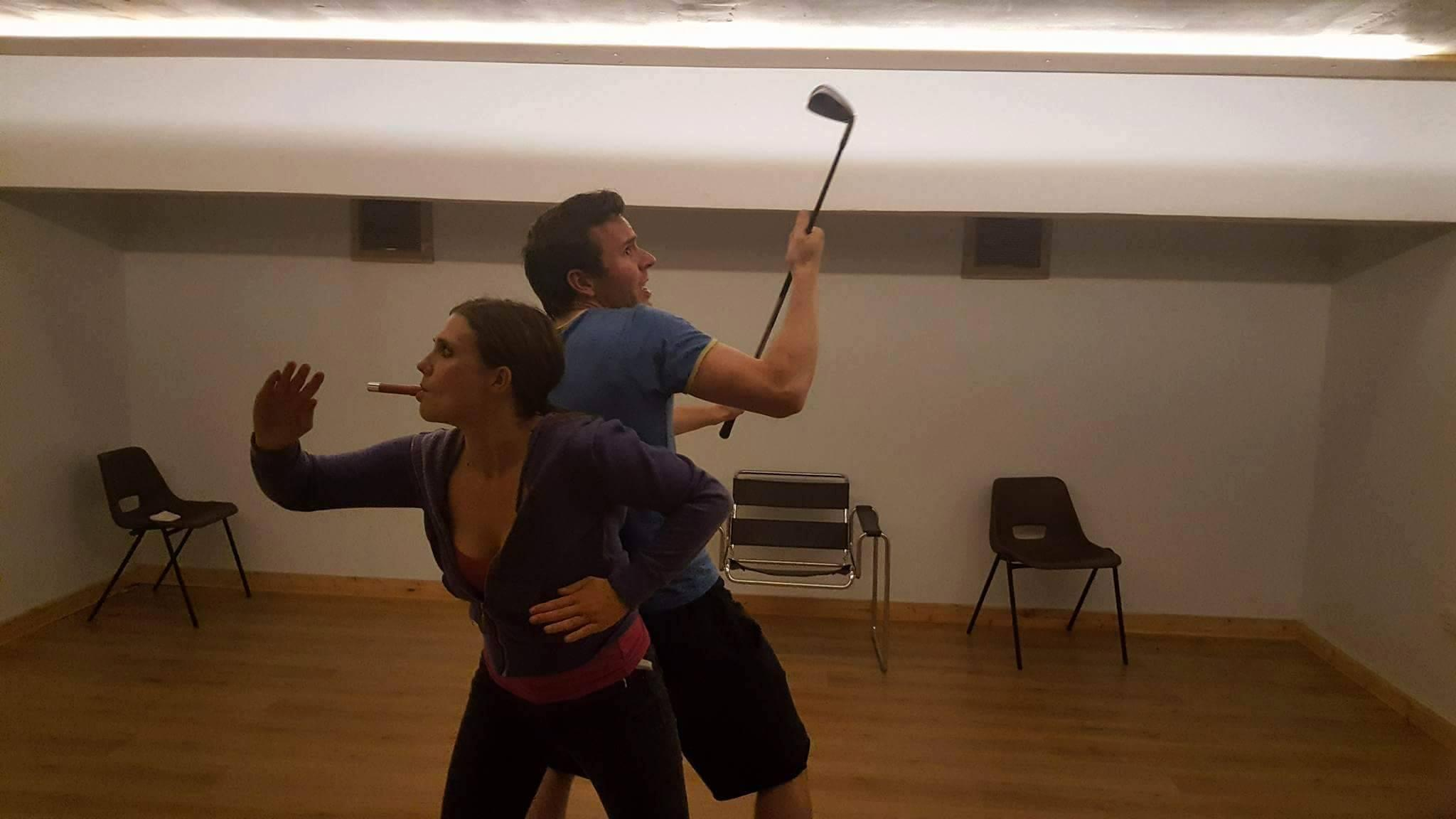 Jasmine Atkins-Smart and Ellis J. Wells, rehearsing for The Accidental Adventures of Sherlock Holmes